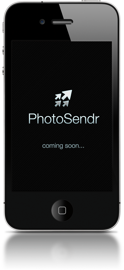 iPhone showcasing a screenshot of the PhotoSendr App.